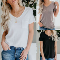 Womens Solid Crew Neck T-shirt Pocket Short Sleeve Casual Top Blouse Summer Tee