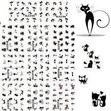 Fingernail  Women Black Cat Water Transfer 3D Nail Art Stickers 11 Design In 1