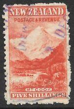 Pre Decimal,Pacific,NZ,1903 5/- Mt Cook,WM Upright,Perf11,SG317ba,CV$800,#2285