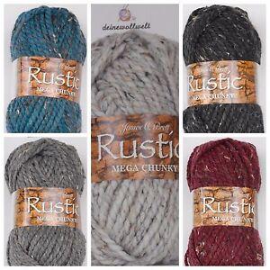 NEU Rustic Mega Chunky - 82 % Acrylwolle - 5 Farben James C. Brett warme Wolle