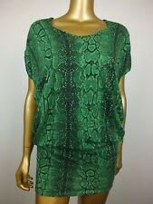 COUNTRY ROAD GREEN MINI SKIRT DRESS SNAKESKIN TUNIC TOP XS S