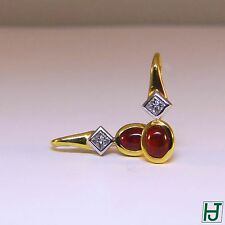 Brand New Cabochon Ruby Earrings with Diamonds, 2.21 carats in 18k Two-tone Gold