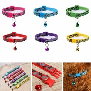 Leash Camo Polyester Fabric Bell Necklace Pet Collar Neck Strap Kitten Chain