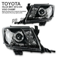 BLACK PROJECTOR ANGEL EYE HEADLIGHT LAMP KUN TOYOTA HILUX VIGO MK7 12 13 14 15