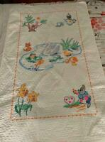 "VIntage cotton hand embroidered crib quilt 34"" x 54"""