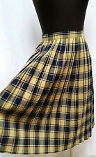 Vintage YELLOW & NAVY WOOL PLAID PLEATED SKIRT - Waist 25 in.