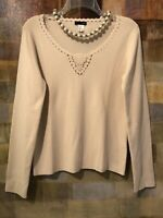 J. CREW LS Biege Cream Sweater Scoop Neck Crochet Knit Detail Sz L (10-12) MINT