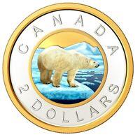 🇨🇦 Rare Canada Coloured Toonie 2 Dollars Coin Polar Bear 99.9% silver UNC 2020