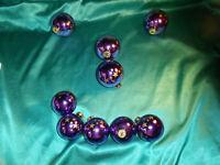 alter Christbaumschmuck 9 Weihnachtskugeln lila gold Sterne Wittig Art Vintage