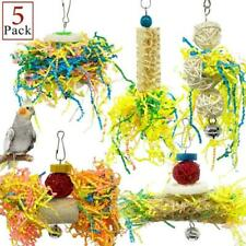 5Pcs Bird Parrot Shredding Toys Chewing Foraging Hanging Cage Shredder Bell Toys