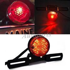 Red Lens Round Motorcycle Brake Rear License Plate Bracket Tail Light Universal