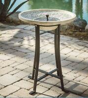 Bird Bath Solar Power Pump Birdbath Dish Distressed White Vintage Modern Decor