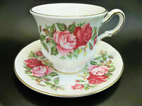 Queen Anne English Tea Cup Saucer Set Bone China Pink Roses