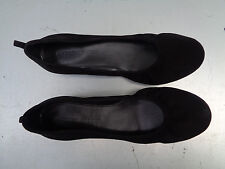 AUDREY BROOKE WOMEN'S BALLET FLATS BLACK SUEDE LEATHER SIZE 7.5 M HIDDEN WEDGE