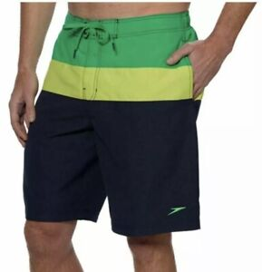Speedo Mens 2XL Swim Shorts trunks liner Waistband Pockets navy green lime