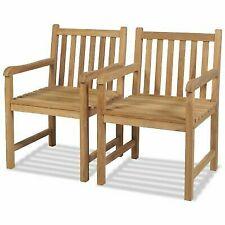 vidaXL Teak 2x Outdoor Chair Wooden Patio Lawn Backyard Seat Garden Furniture