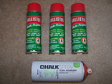 Ballistol Gun Cleaning Oil Three (3) 6oz Aerosol Orange Sight Chalk Black Powder