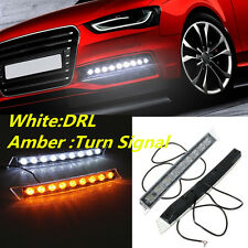9LED Car Auto DRL Light Daytime Turn Signal White Yellow LED Lamp for Audi BMW