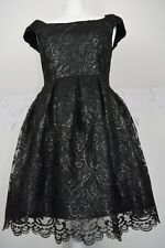 w19 Prom wedding evening black silver lace dress OASIS s 12 cup sleeve