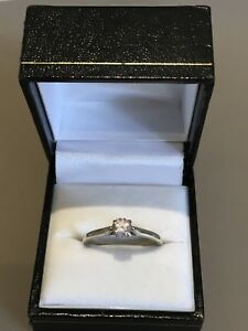 Sterling Silver Ring Cubic Zirconia Solitaire Size P 1/2