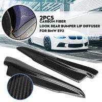 For BMW E90 E91 E92 E93 Carbon Fiber Look Rear Bumper Lip Splitter Winglet Apron
