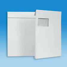50 Versandtaschen C4 mit 20 mm Falte und Klotzboden - mit Fenster - Faltentasche