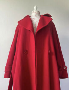 Harrods Red Wool & Cashmere Blend Oversized Trench Coat Size 10 - 14