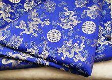 Bordado de Brocade Fabric-Panel/Apliques/Azul/Costura/Artesanía/12x12in/Satén