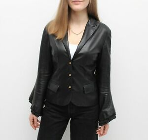 Wmns Vintage GIANNI VERSACE 80s Leather Jacket Blazer Gold Buttons Flared Sleeve