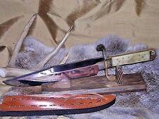 VINTAGE ANTIQUE WESTERN STYLE HUNTING BOWIE KNIFE W/ SHEATH CASE WHITE BONE !!!