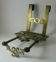 Antique English 19th c Sliding Ornate Brass Hanging Fireplace Trivet