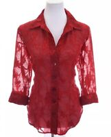 Coldwater Creek Womens Button Down Shirt Up Jacquard Floral Sheer Red Sz Small