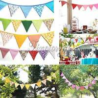 Handmade Double side Fabric Flags Bunting Banner Garland Wedding Party Decor