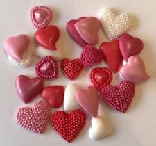 24 RED WHITE & PINK MIXED HEARTS VALENTINES WEDDING EDIBLE ICING CAKE TOPPERS