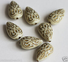50 of vintage Acrylic teardrop beads 18x11mm Cream with gold accent