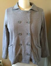TORRID GRAY DOUBLE BREASTED SWEATSHIRT COAT WITH ZIPPER POCKETS AND COLLAR
