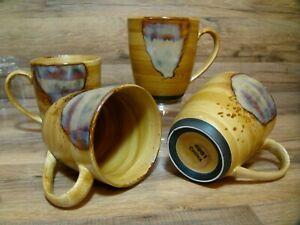 SET OF 4 - SANGO - SPLASH - 12 OZ COFFEE MUGS - EARTH TONE STONEWARE # 4951