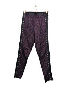 Victoria's Secret PINK Plum Purple Animal Print Logo Zip Hem Slim Track Pants L