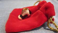 Nordstrom Black & White Gold Tone Golf Shoe Pin In Velveteen Gift Bag Small