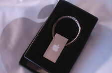 BOXED! VINTAGE APPLE COMPUTER LOGO 1990 SATIN KEY CHAIN EMPLOYEE COMPANY STORE