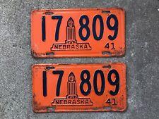 (2) - MATCHING PAIR 1941 NEBRASKA LICENSE PLATES