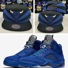 Matching Mitchell  Ness Chicago Bulls snapback Hat for Jordan 5 Royal Blue Suede