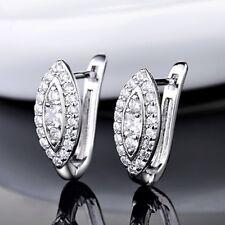 Luxurious Engagement Women Sapphire Crystal Bead Flower Hoop Stud Earrings Gift