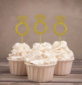 Wedding Engagement Ring Cupcake Toppers,Party Dessert Decor-Pack Of 20-DSCCT-41A