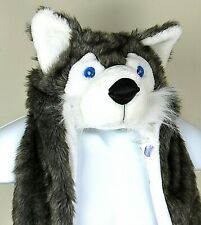 Husky Dog Head Hat Lighted Eyes and Scarf with Hand Warming Pockets