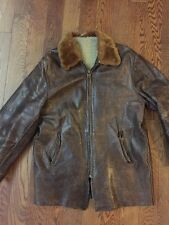 Vintage Fur Collar Leather Bomber Jacket - Small/ Med