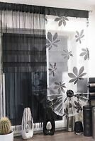 MODERN FLORAL VOILE SET OF NET CURTAINS STRINGS WINDOW PANEL KITCHEN LIVINGROOM