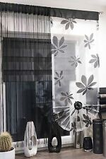 MODERN FLORAL VOILE SET OF NET CURTAINS STRINGS WINDOW PANEL KITCHEN LIVINGROOM