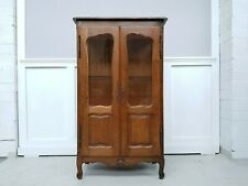 French Provincial Oak Display Cabinet Armoire Louis Style