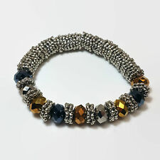 Silver Tone & Brown AB Bead Stretchy Bracelet